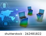 books and laptop | Shutterstock . vector #262481822