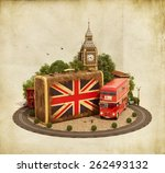 old suitcase with british flag  ... | Shutterstock . vector #262493132
