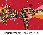 vector vintage microphone on... | Shutterstock .eps vector #262498715