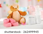 Baby Accessories On Table On...