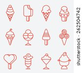ice cream set  thin line icons  ... | Shutterstock .eps vector #262504742