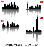 Black vector silhouette skylines of Asian towns (Singapore, Taipei, Kuala Lumpur & Beijing) with Flags - stock vector