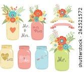 wedding flower mason jar | Shutterstock .eps vector #262521572