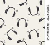 doodle headphone seamless... | Shutterstock . vector #262530068