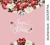 greeting card with roses ... | Shutterstock . vector #262539746
