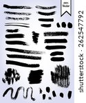set of black vector ink brush... | Shutterstock .eps vector #262547792