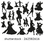 dance silhouettes | Shutterstock .eps vector #262582616