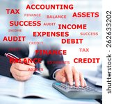 Small photo of Hands of accountant businessman with calculator. Accounting background