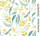 watercolor yellow mimosa... | Shutterstock .eps vector #262648295