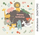 birthday card with africa... | Shutterstock .eps vector #262671542