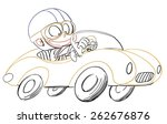 young kid driving a race car | Shutterstock .eps vector #262676876