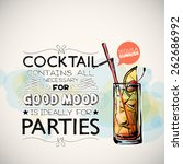 hand drawn poster with cocktail ... | Shutterstock .eps vector #262686992