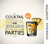 hand drawn poster with cocktail ... | Shutterstock .eps vector #262687046