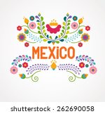 mexico flowers  pattern and... | Shutterstock .eps vector #262690058