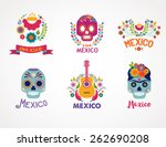 mexico flowers  skull and food... | Shutterstock .eps vector #262690208