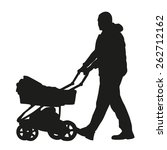 Man With A Pram. Vector...