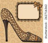 shoe with leopard skin texture. ... | Shutterstock .eps vector #262716362