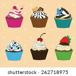 set of cupcakes on vintage...   Shutterstock .eps vector #262718975