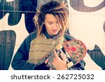 Portrait Young Guy Skate Rasta Hair Stock Photo Edit Now 262725032