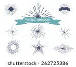 hand drawn vintage sunburst.... | Shutterstock .eps vector #262725386