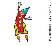 space rocket flying. comic... | Shutterstock . vector #262747442
