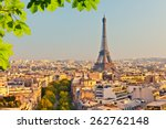 view on eiffel tower at sunset  ... | Shutterstock . vector #262762148