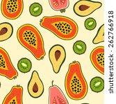 papaya  kiwi  avocado pattern ... | Shutterstock .eps vector #262766918