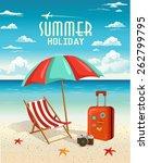 Summer Beach Holiday Vector...