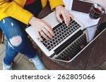 woman hands typing on laptop ... | Shutterstock . vector #262805066