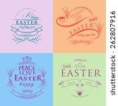 set of happy easter...   Shutterstock .eps vector #262807916