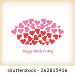 lips made of hearts mothers day | Shutterstock . vector #262815416