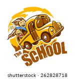 Funny School Bus Vector...