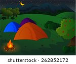 camping in the meadow at night | Shutterstock . vector #262852172