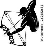 bow hunter aiming with compound ... | Shutterstock .eps vector #262852658