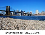View across the Hudson to the Brooklyn Bridge and Downtown Manhattan - stock photo
