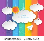 paper clouds  sun hanging and... | Shutterstock .eps vector #262874615