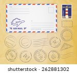 retro postage stamps collection ... | Shutterstock . vector #262881302