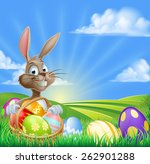 A Cartoon Easter Bunny With A...