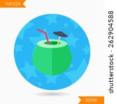 coconut milk flat icon with... | Shutterstock .eps vector #262904588
