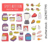 sports nutrition. bodybuilding... | Shutterstock .eps vector #262907795