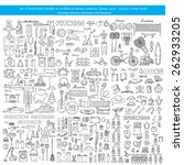 vector set of hand drawn... | Shutterstock .eps vector #262933205