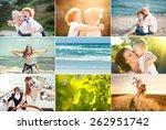 summer collage of happy people... | Shutterstock . vector #262951742