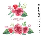 watercolor set of flowers... | Shutterstock .eps vector #262957592