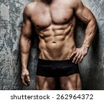 handsome  muscular  sexy male... | Shutterstock . vector #262964372