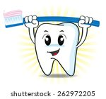 cute cartoon tooth and... | Shutterstock .eps vector #262972205