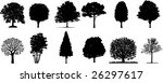 isolated vector trees   Shutterstock .eps vector #26297617