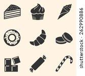 vector set of dessert icons.... | Shutterstock .eps vector #262990886