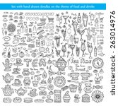 vector set with hand drawn... | Shutterstock .eps vector #263014976