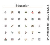 education colored line icons... | Shutterstock .eps vector #263015216