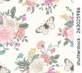 seamless floral pattern with... | Shutterstock .eps vector #263025986